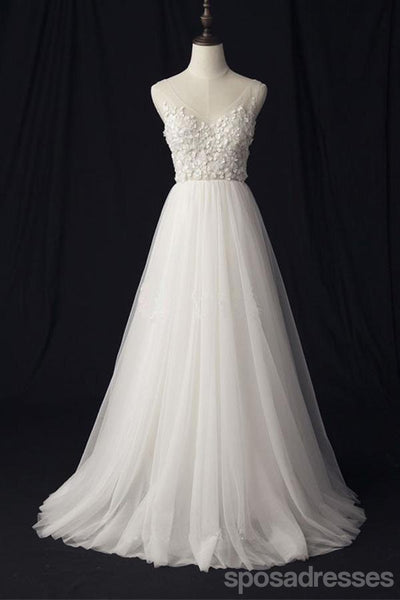 See Through V Neck Lace Cheap Custom A-line Long Wedding Bridal Dresses, WD290