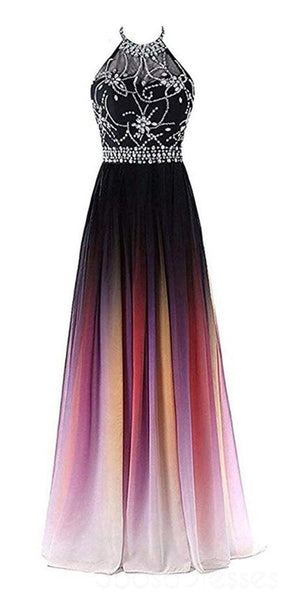 Halter Beaded Chiffon Ombre Long Evening Prom Dresses, Custom heap Sweet 16 Dresses, 18401