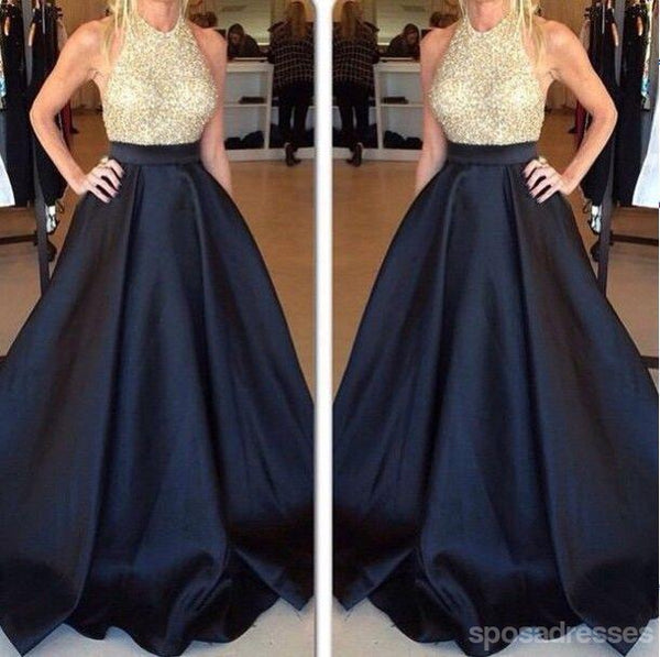 Halter Backless Evening Prom Dresses, Sexy Navy Prom Dress, Long Prom Dress, 2017 Prom Dress, Custom Evening Prom Dresses, 17012