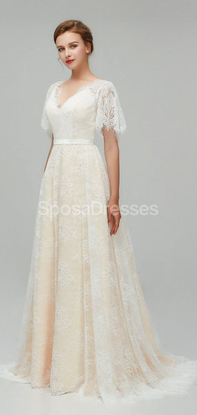 Champagne Short Sleeves Lace A-line Cheap Wedding Dresses Online, Cheap Bridal Dresses, WD561