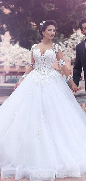 White See Through Off Shoulder Long Sleeves Lace A-line Wedding Dresses Online, WD410