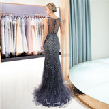 V Neck Sparkly Navy Rhinestone Beaded Mermaid Evening Prom Dresses, Evening Party Prom Dresses, 12037