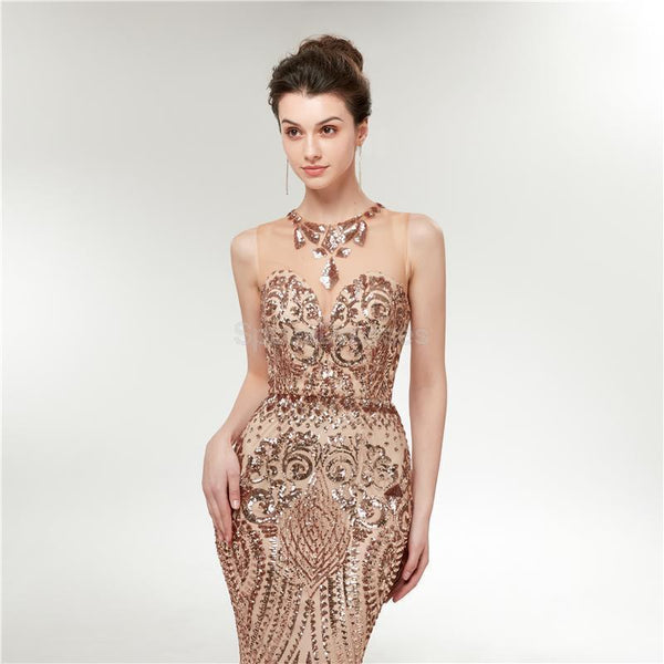 Illusion Gold Sequin Sparkly Mermaid Long Evening Prom Dresses, Evening Party Prom Dresses, 12012