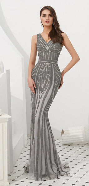 V Neck Grey Beaded Mermaid Evening Prom Dresses, Evening Party Prom Dresses, 12089