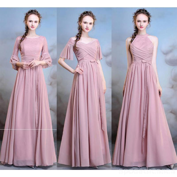 bb2cbb66c22f Chiffon Long Mismatched Dusty Pink Cheap Bridesmaid Dresses Online, WG –  SposaDresses