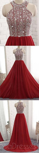 Dark Red Halter Chiffon Beaded A line Long Custom Evening Prom Dresses, 17416