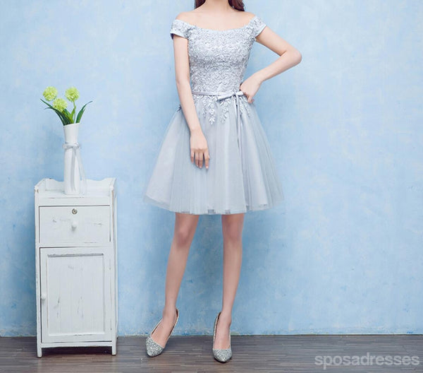 Short Sleeve Scoop Neckline Gray Lace Cute Homecoming Prom Dresses, Affordable Short Party Prom Sweet 16 Dresses, Perfect Homecoming Cocktail Dresses, CM337