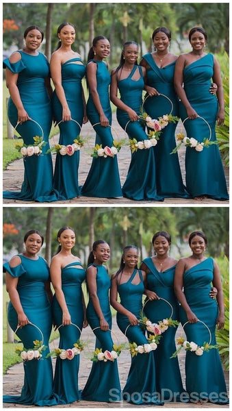 Unique Mismatached Teal Mermaid Cheap Long Cheap Bridesmaid Dresses Online, WG647