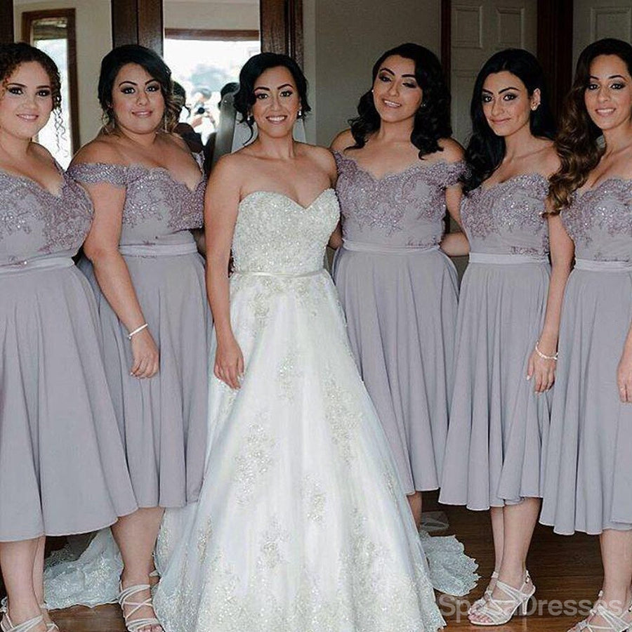 Chiffon bridesmaid dresses gowns chiffon dresses tagged short cap sleeve off shoulder tea length chiffon lace grey on sale short young bridesmaid dresses ombrellifo Gallery