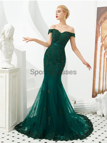 Emerald Green Lace Applique Mermaid Evening Prom Dresses, Evening Party Prom Dresses, 12128