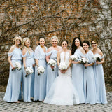 Mismatched Blue Chiffon Long Cheap Bridesmaid Dresses Online, WG613