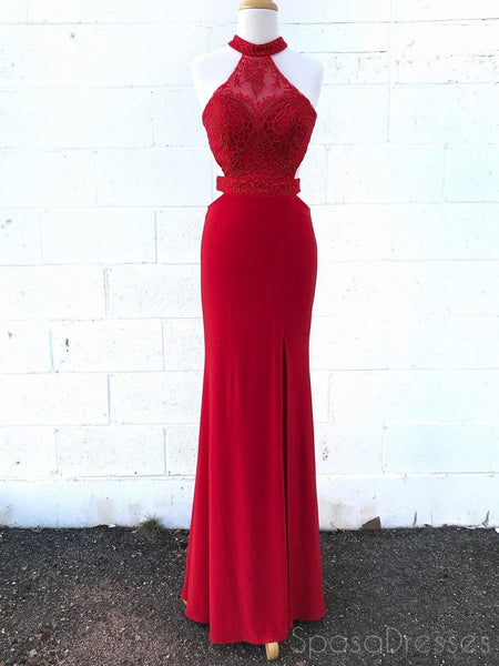 Sexy Red Lace Halter Backless Mermaid Long Evening Prom Dresses, 17552