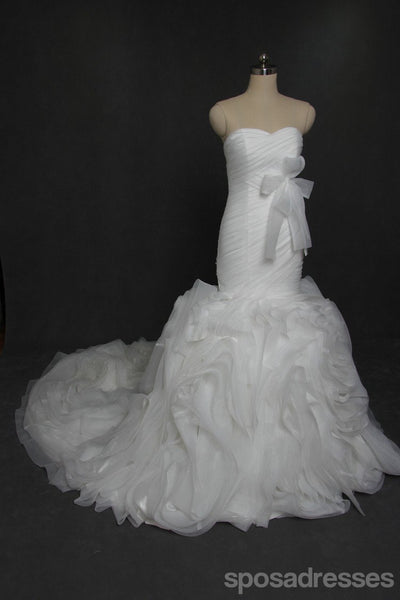 Sweetheart Strapless Organza Mermaid Wedding Dresses, Custom Made Wedding Dresses, Cheap Wedding Gowns, WD210