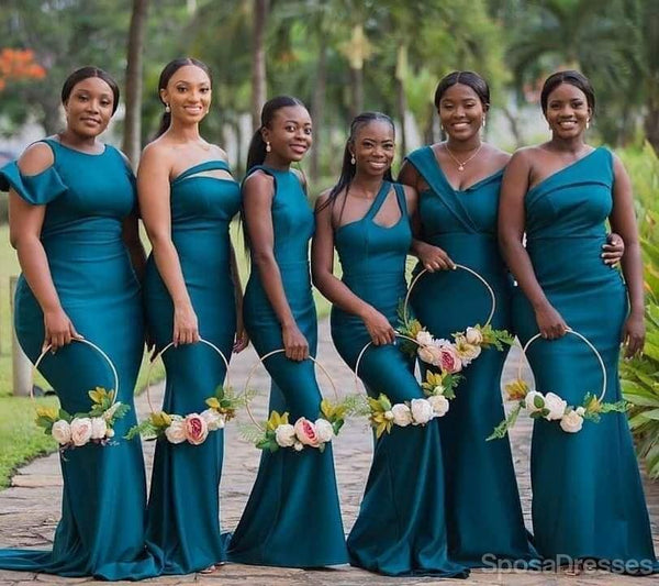 Unique Mismatached Teal Mermaid Long Cheap Bridesmaid Dresses Online, WG647