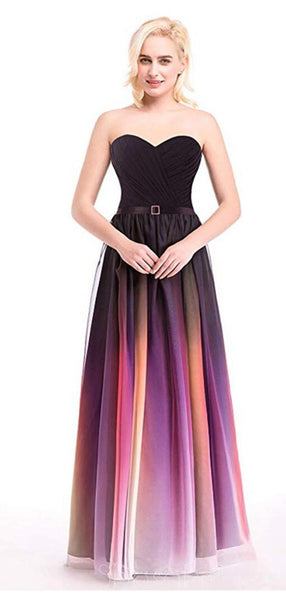 Sweetheart Chiffon Ombre Cheap Long Evening Prom Dresses,  Custom Sweet16 Dresses, 18404