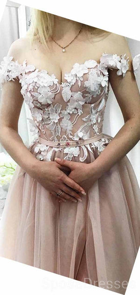 Off Shoulder Cute Hand Made Flower Long Evening Prom Dresses, Cheap Custom Sweet 16 Dresses, 18463