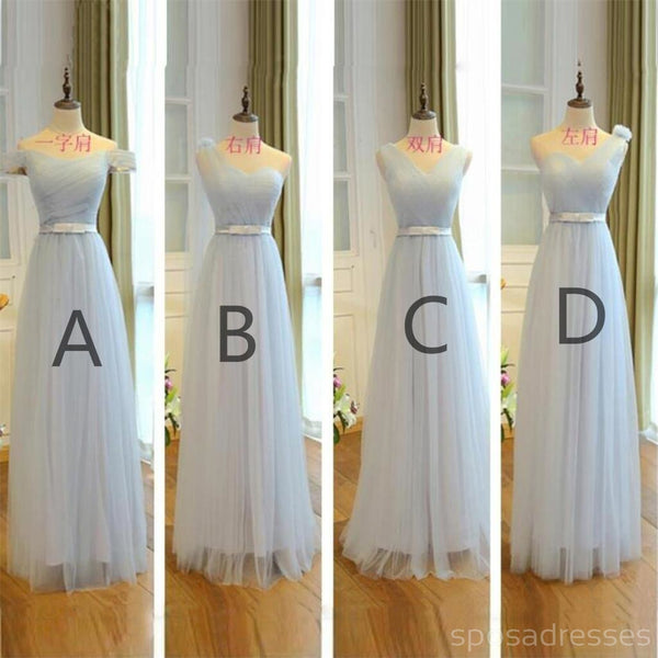 Mismatched Light Blue Tulle Long Bridesmaid Dresses, Cheap Custom Long Bridesmaid Dresses, Affordable Bridesmaid Gowns, BD007