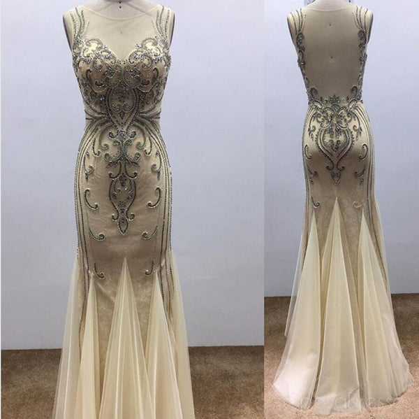 Sexy See Through Mermaid Delicate Beading Long Evening Prom Dresses, Popular Cheap Long 2018 Party Prom Dresses, 17286