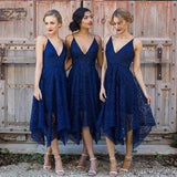 Navy V Neck Cheap Short Lace Bridesmaid Dresses Online, WG212