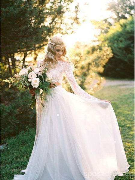 Sexy Long Sleeves Two Pieces Cheap Beach Wedding Dresses Online, Cheap Beach Bridal Dresses, WD469