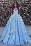Off Shoulder V Neck Backless Light Blue A-line Floor Length Custom Long Evening Prom Dresses, 17385
