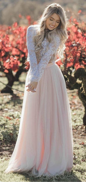 Long Sleeves Two Pieces Pale Pink Skirt Wedding Dresses Online, Cheap Lace Bridal Dresses, WD480