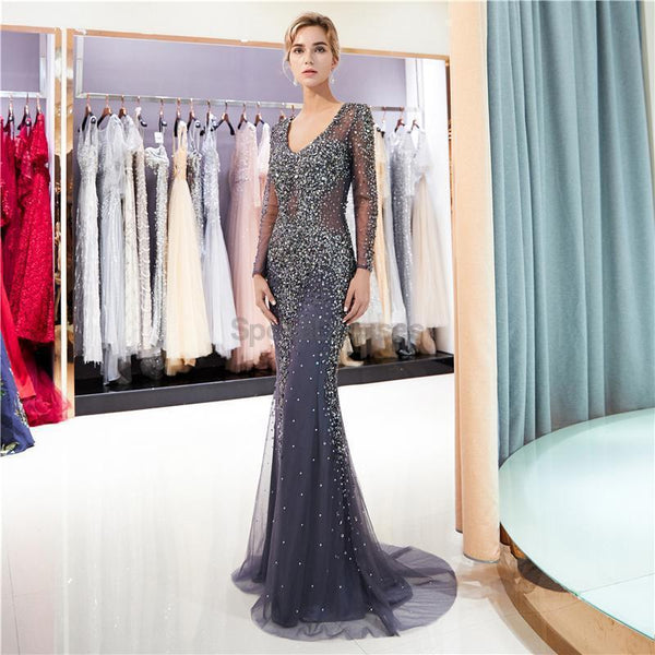 Long Sleeves Navy Rhinestone Beaded Mermaid Evening Prom Dresses, Evening Party Prom Dresses, 12039