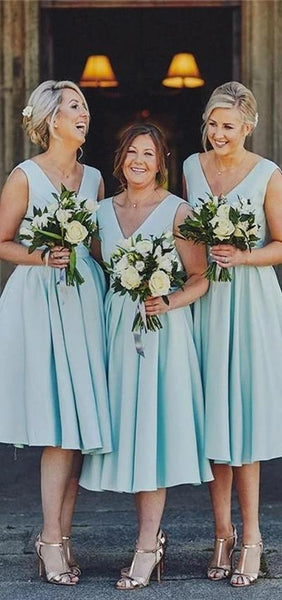 Tiffany Blue V neck Short Bridesmaid Dresses, Cheap Bridesmaids Dresses, WG735