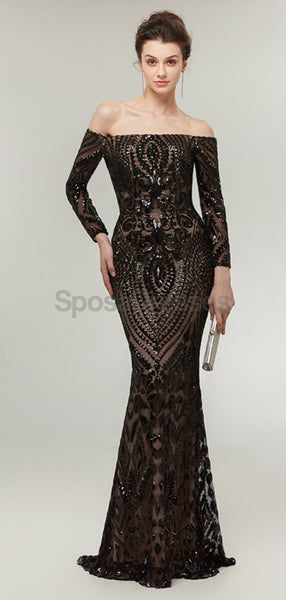 Off Shoulder Long Sleeves Black Sparkly Mermaid Long Evening Prom Dresses, Evening Party Prom Dresses, 12014