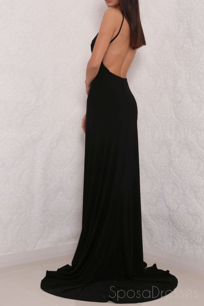 Simple Sexy Backless Side Slit Mermaid Long Custom Evening Prom Dresses, 17405