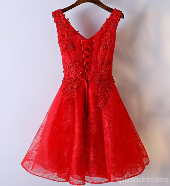 Red Lace V Neckline Homecoming Prom Dresses, Affordable Corset Back Short Party Prom Dresses, Perfect Homecoming Dresses, CM254
