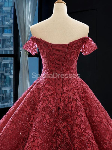 Off Shoulder Dark Red Lace Ball Gown Evening Prom Dresses, Evening Party Prom Dresses, 12258