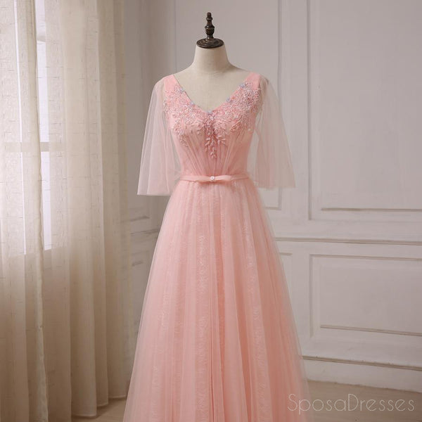 Peach Tulle Beaded Short Sleeve Long Evening Prom Dresses, Popular Cheap Long 2018 Party Prom Dresses, 17245