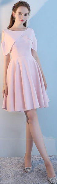 Blush Pink Short Mismatched Simple Cheap Bridesmaid Dresses Online, WG515