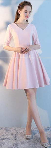 Blush Pink Cheap Mismatched Simple Short Bridesmaid Dresses Online, WG516