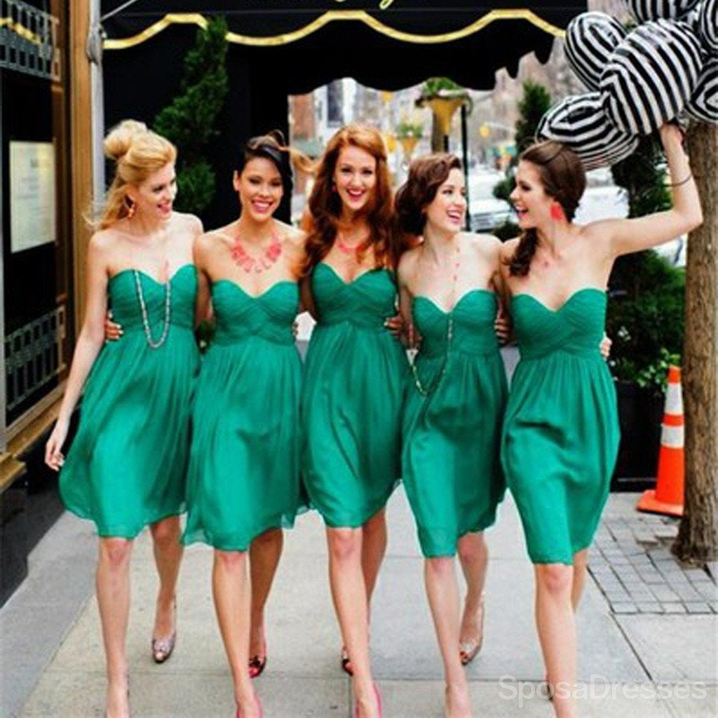 Simple cheap chiffon sweet heart knee length green bridesmaid simple cheap chiffon sweet heart knee length green bridesmaid dresses for summer beach wedding party ombrellifo Image collections