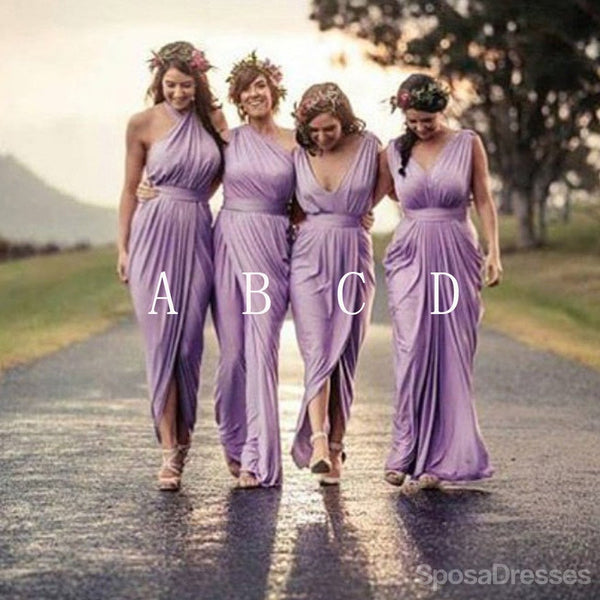 Charming Mismatched Pleating  Lilac Cheap Wedding Guest Dresses, WG1455
