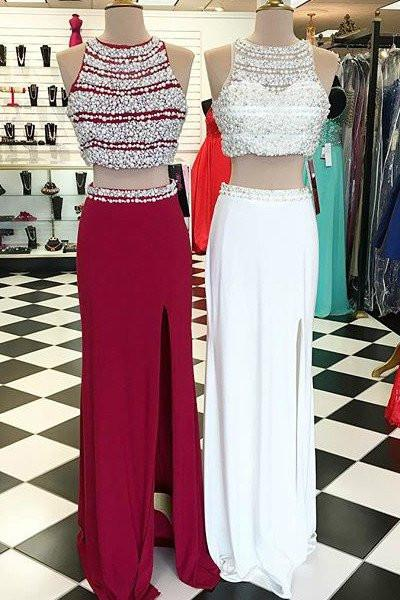 Sexy Two Pieces Red Beaded Evening Prom Dresses, Long Beaded Party Prom Dress, Custom Long Prom Dresses, Cheap Formal Prom Dresses, 17055