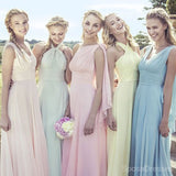 Junior Young Girls Simple Cheap Chiffon Convertible Mismatched Styles Different Colors Long Formal Bridesmaid Dresses for Wedding Party, WG148