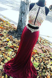 Sexy Two Pieces Red Beaded Evening Prom Dresses, Long Beaded Party Prom Dress, Custom Long Prom Dresses, Cheap Formal Prom Dresses, 17056