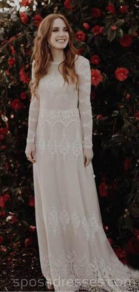 Long Sleeves Lace Backless Long Wedding Dresses Online, Cheap Bridal Dresses, WD544