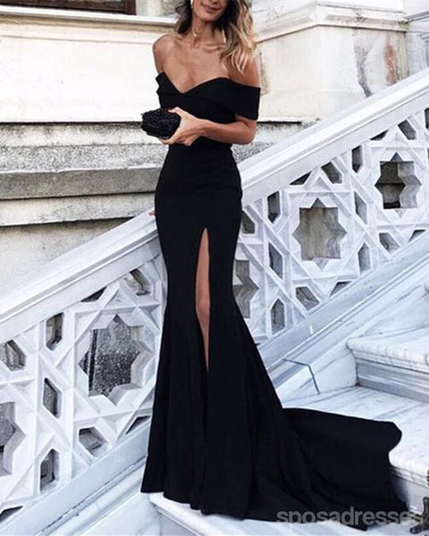 Simple Black Off Shoulder Short Sleeve Side Slit Mermaid Long Custom Evening Prom Dresses, 17417