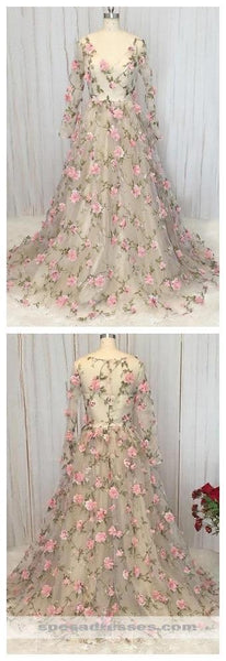 Long Sleeves HandMade Flowers Long Evening Prom Dresses, Cheap Sweet 16 Dresses, 18323