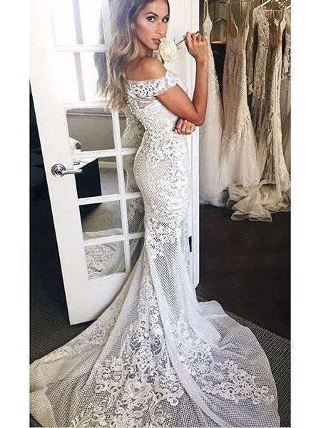 Off Shoulder Lace Mermaid Wedding Dresses, Cheap Wedding Gown, WD685