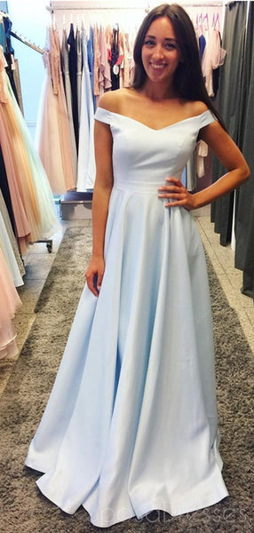 Simple Off Shoulder Baby Blue Long Evening Prom Dresses, Cheap Sweet 16 Dresses, 18388