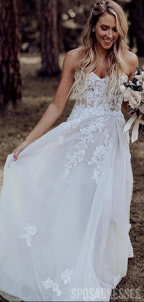 Sweetheart See Through A-line Lace Wedding Dresses, Cheap Wedding Gown, WD684