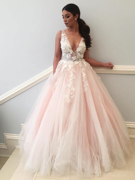 e9f07261c71 Sexy See Through Lace Applique Pale Pink A line Long Custom Evening Prom  Dresses
