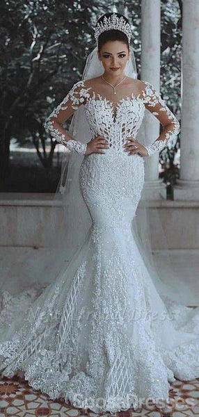 Long Sleeves Lace Beaded Mermaid Wedding Dresses Online, Cheap Unique Bridal Dresses, WD600
