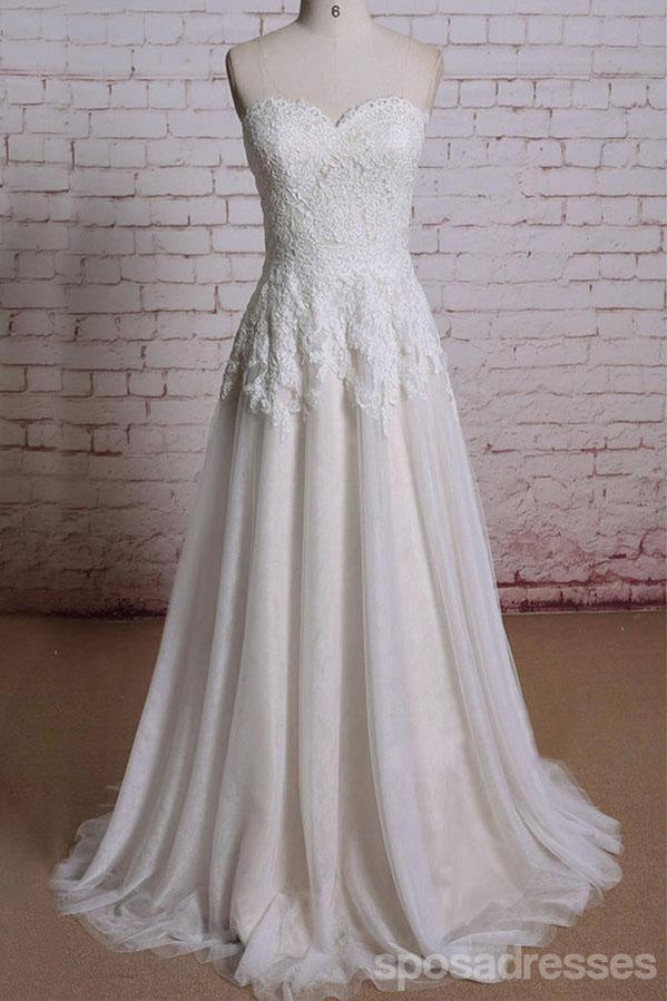 Strapless Sweetheart Lace A-line Long Wedding Bridal Dresses, WD292