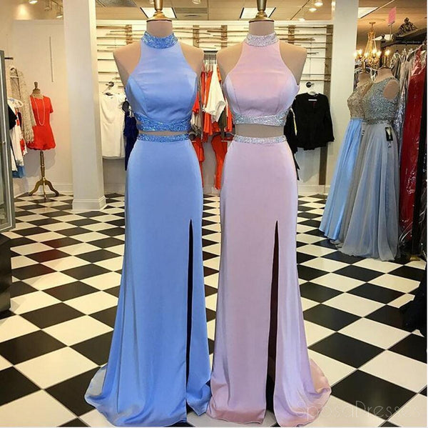 Sexy Two Pieces Side Slit Halter Long Evening Prom Dresses, Popular Cheap Long 2018 Party Prom Dresses, 17287